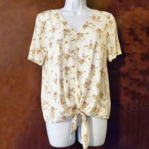 MADEWELL Novel Tie Front Windowbox Floral Top XS